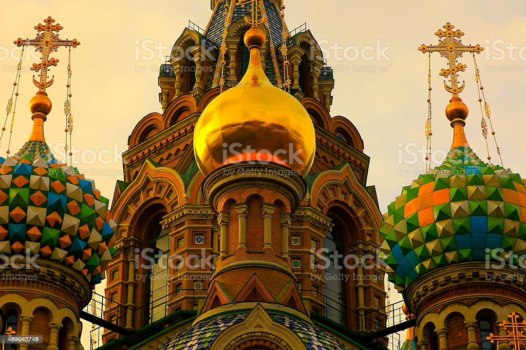 Russian Church of Savior on Spilled Blood detail, St. Petersburg stock photo
