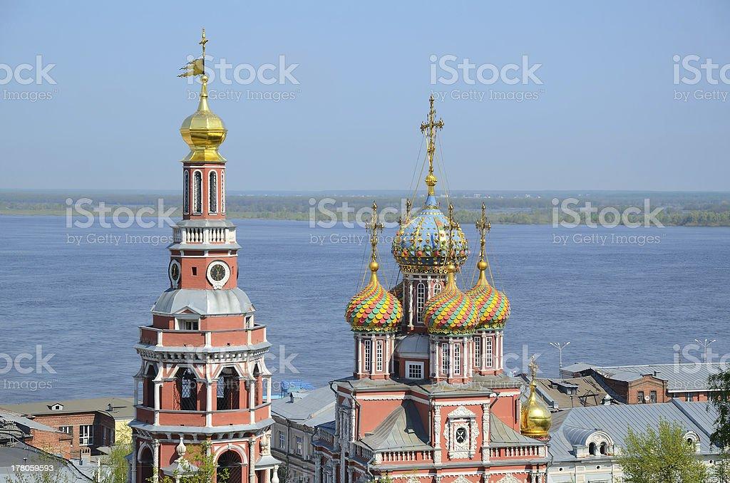 Russian church on Volga river stock photo