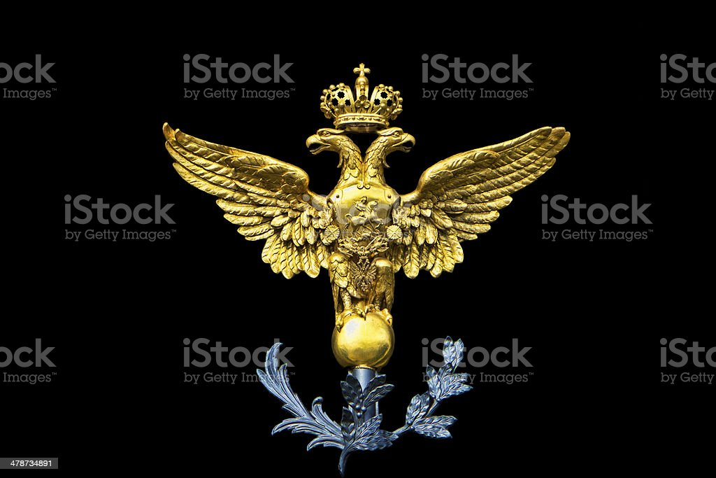 Russian Coat of Arms - Golden Double Headed Eagle stock photo