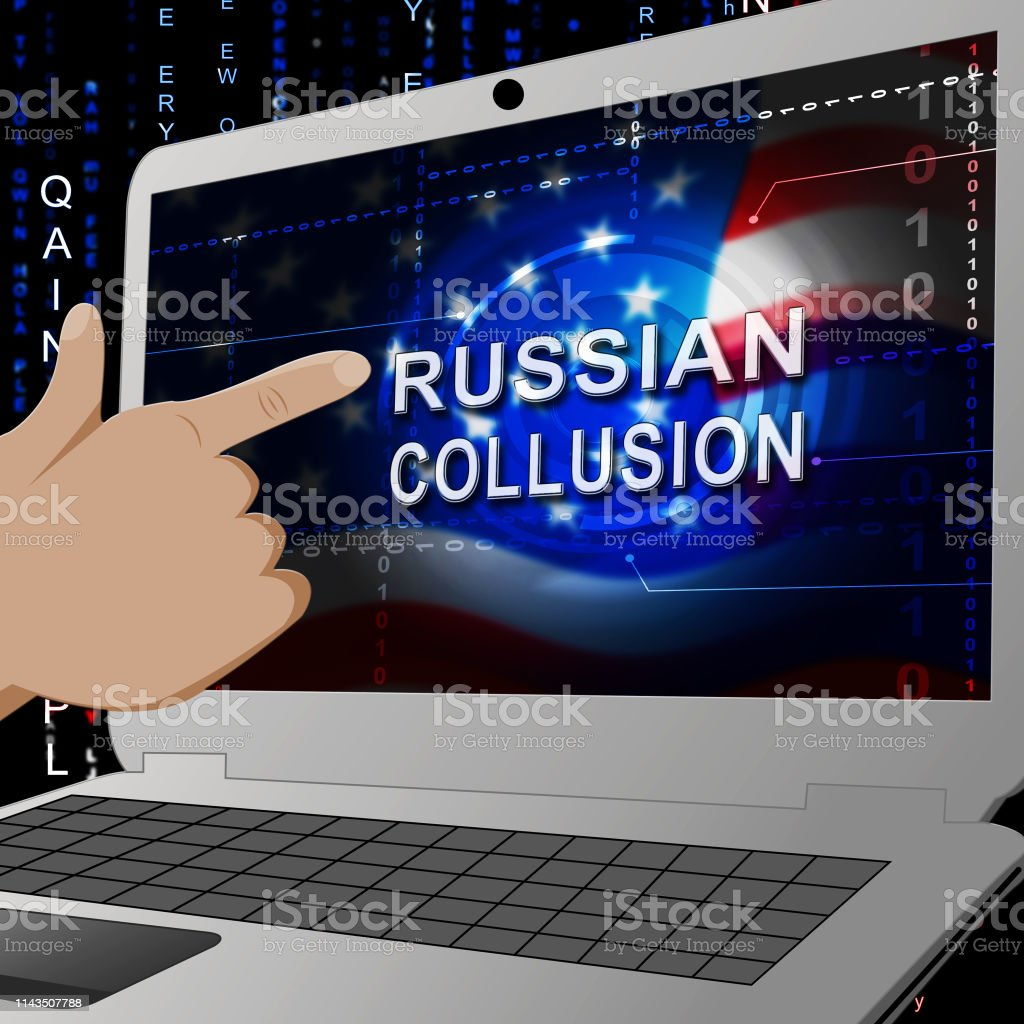 Russian Collusion During Election Campaign Laptop Means Corrupt Politics In America 3d Illustration royalty-free stock photo