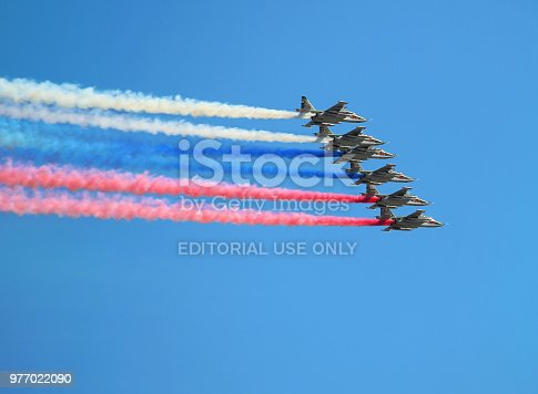 istock Russian combat aircraft su-25 on the air parade 977022090