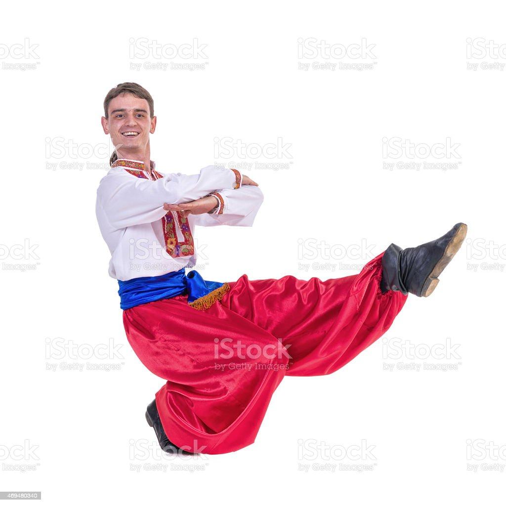 Russian cossack dance. Young dancer dancing stock photo