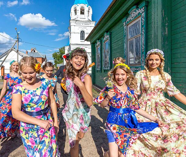 Russian country girls stok fotoğrafı