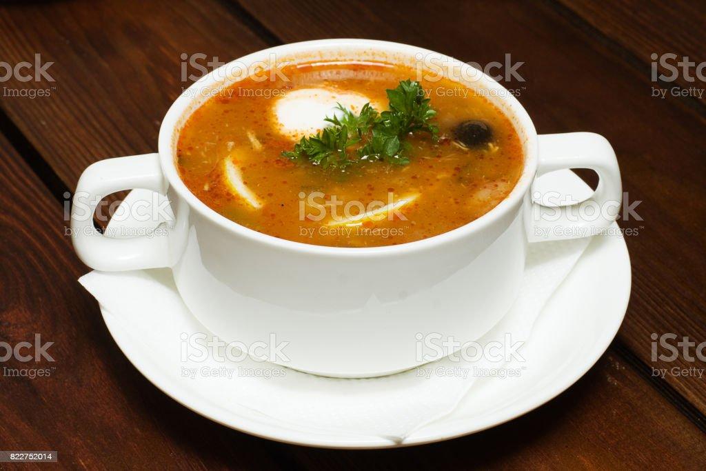 Russian cuisine, soup hodgepodge - soljanka stock photo