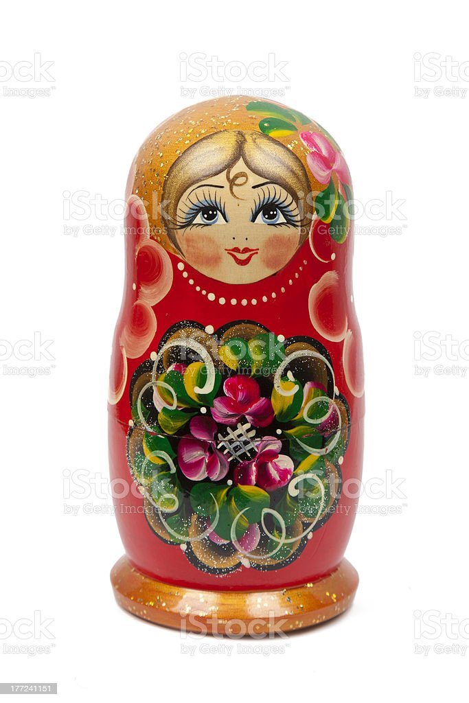 Russian doll on white background royalty-free stock photo
