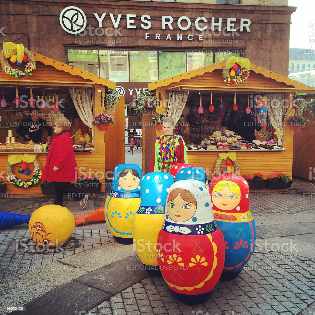 Russian dolls  and Yves Rocher store in Moscow, Russia royalty-free stock photo