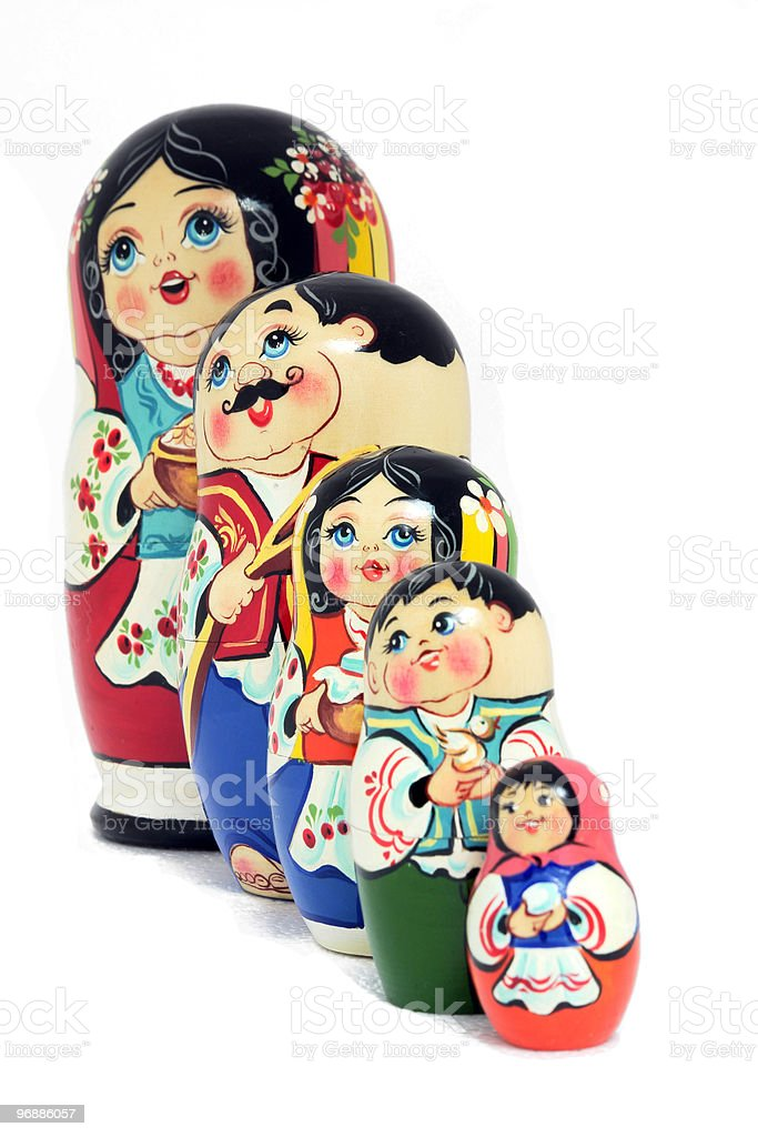 Russian dolls family - isolated royalty-free stock photo