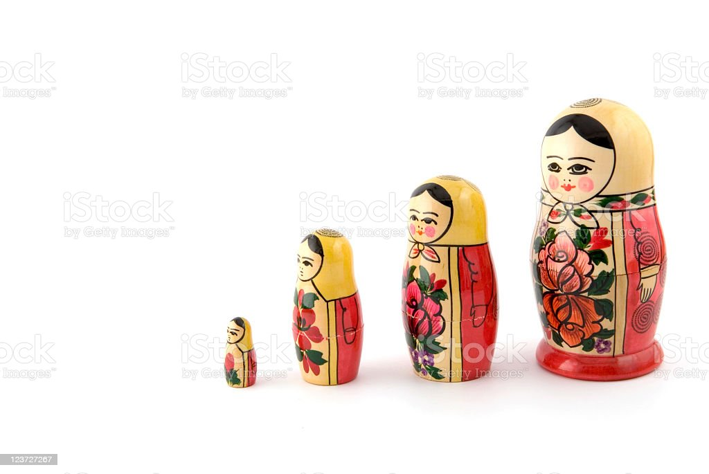 Russian dolls in increasing heights that can cover self royalty-free stock photo