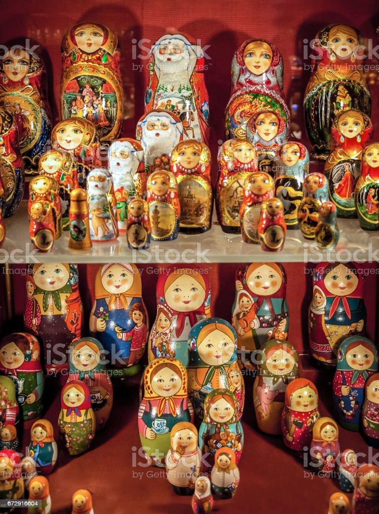 Russian dolls matryoshka a symbol of Russian culture stock photo
