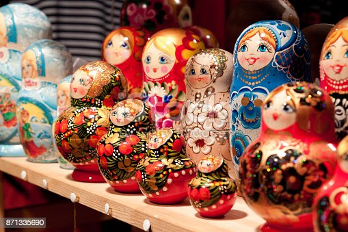 Russian dolls on display at market