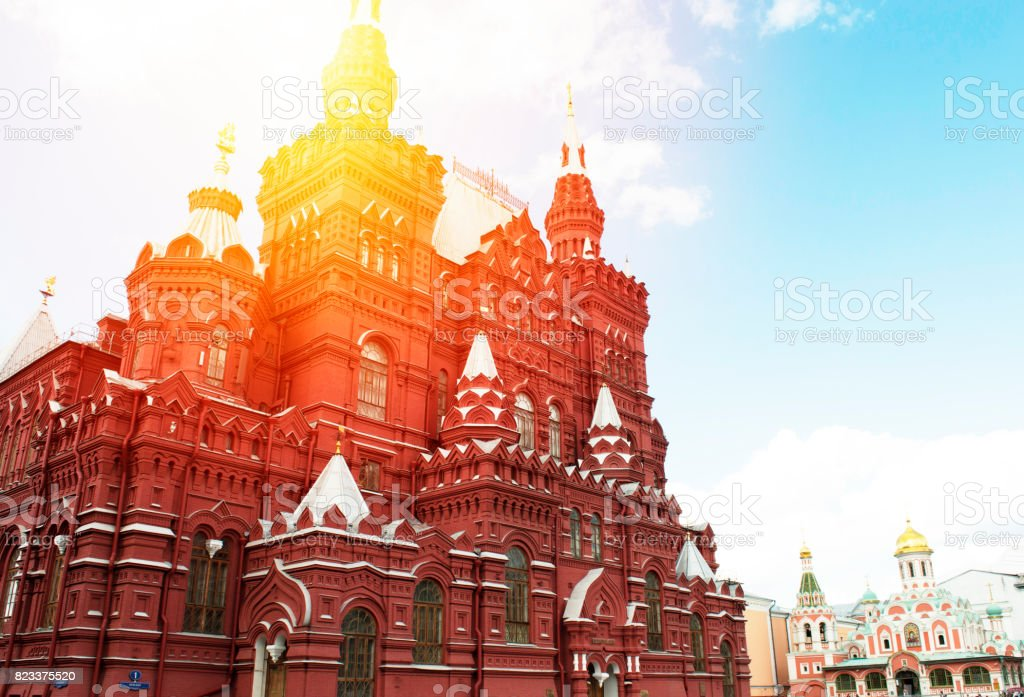 Russian famous building on the red square in Moscow, travel concept, sunlight, blue sky stock photo