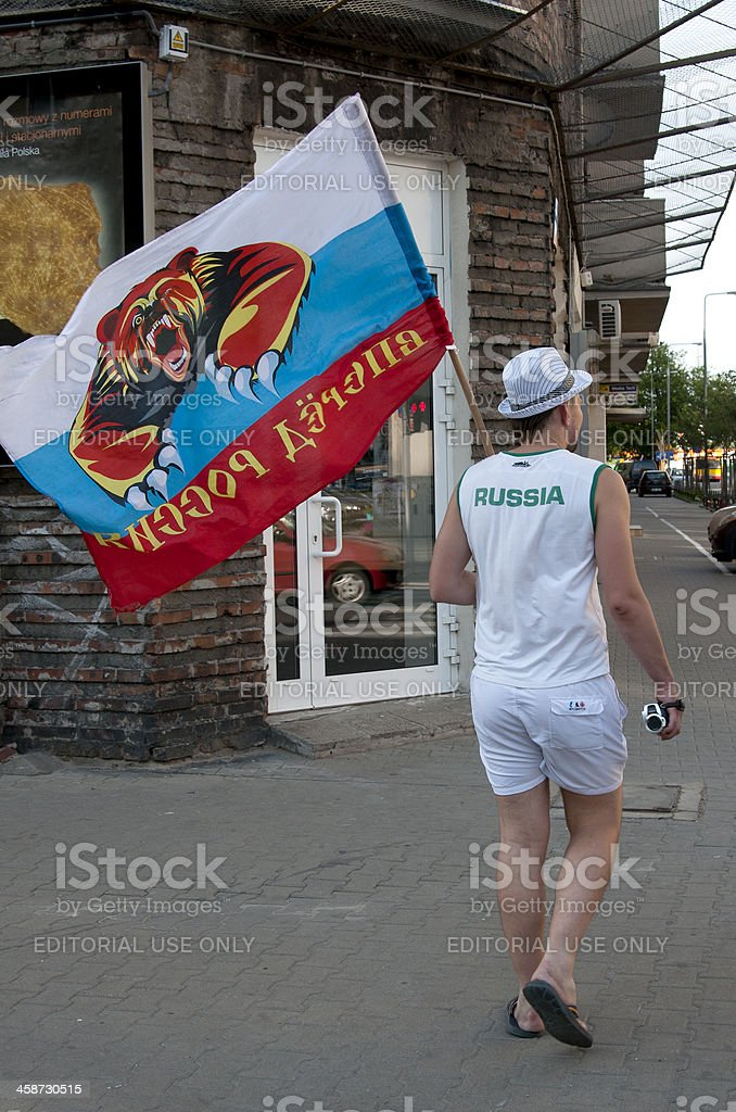Russian fan with flag. UEFA EURO 2012 royalty-free stock photo