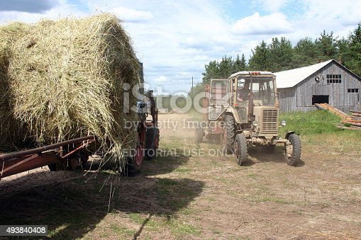 istock Russian Farm tractor moves round bales of hay near barn. 493840408