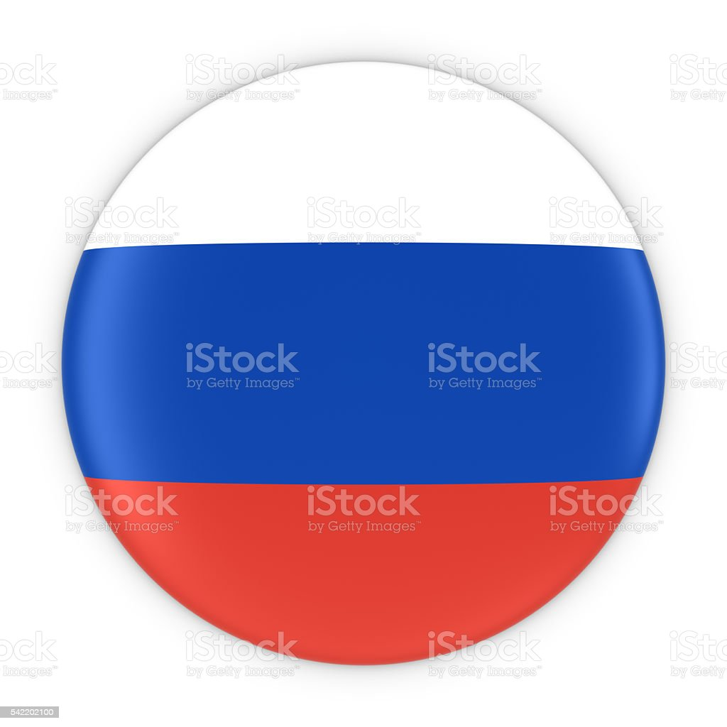 Russian Flag Button - Flag of Russia Badge 3D Illustration stock photo
