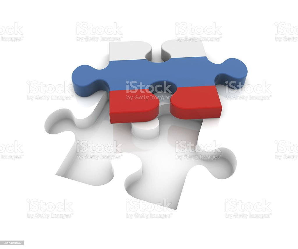 Russian Flag on Puzzle royalty-free stock photo