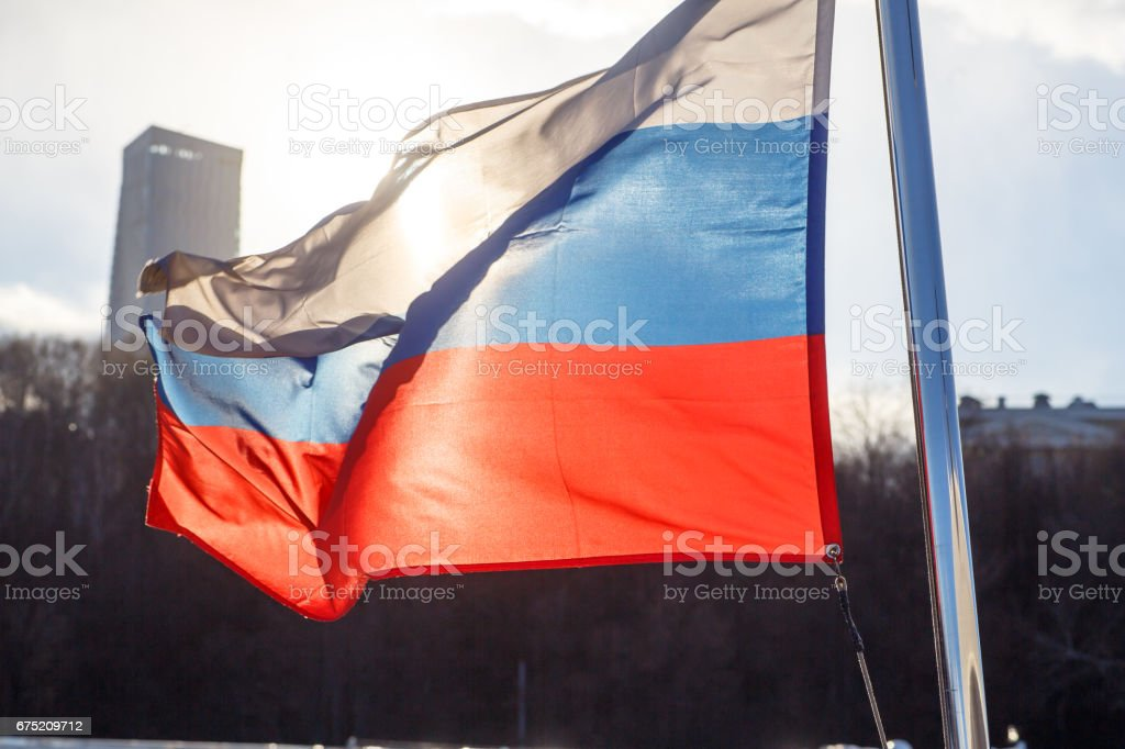 Russian flag on the background of the Moscow Kremlin royalty-free stock photo