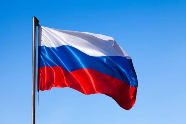 Russian flag waving stock photo