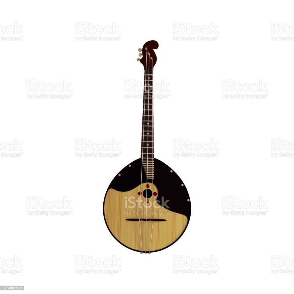 Russische traditionelle Volksmusik Instrument - Domra, Balalaika. Realistische 3d Render. – Foto