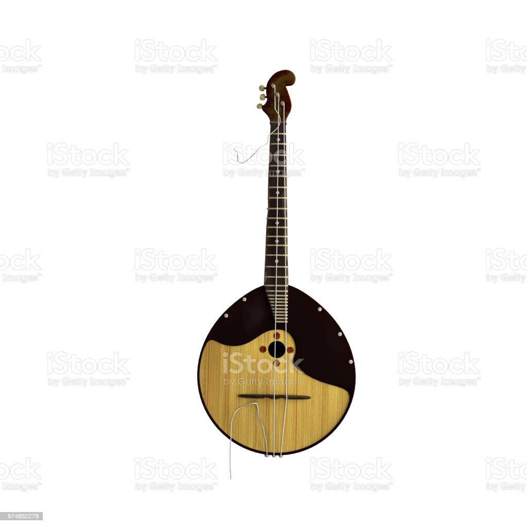 Russische traditionelle Volksmusik Instrument - Domra, Balalaika - mit gebrochenen Zeichenfolge. Realistische 3d Render. – Foto