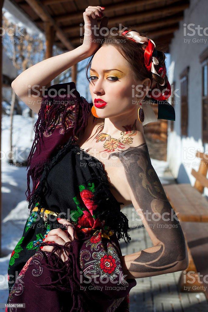 Russian girl fashion portrait royalty-free stock photo