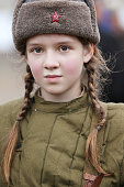 Russian girl in the form of a soldier of the Second World War.Children of the Second World War