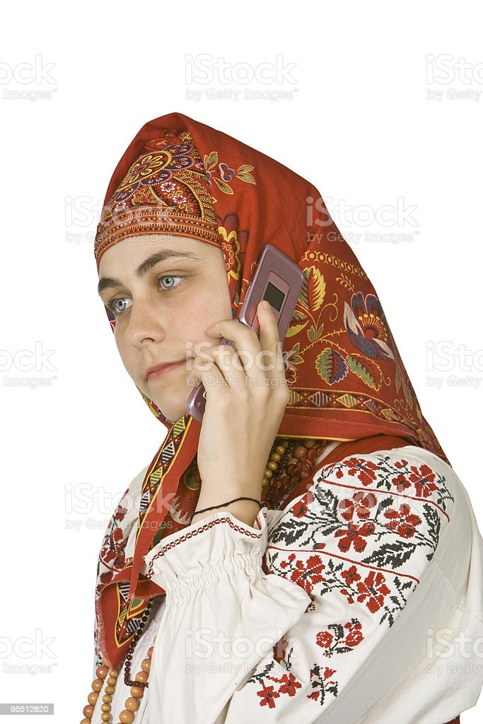 Russian girl on the phone stock photo