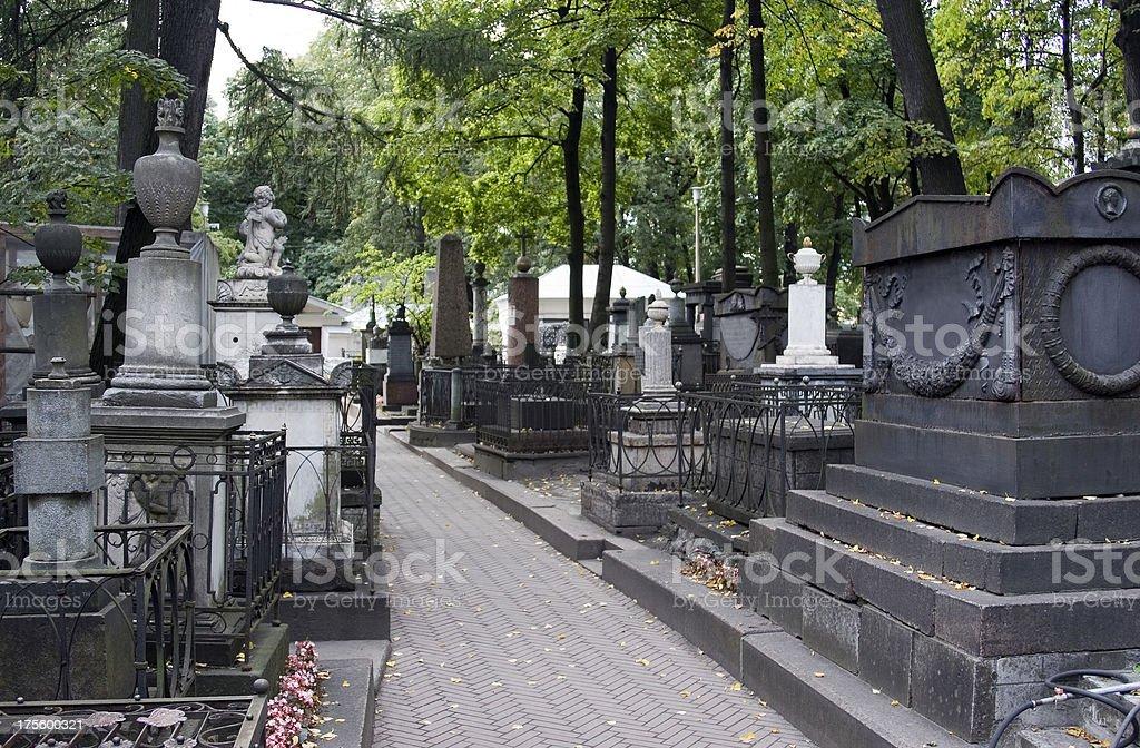 Russian graveyard, Alexander Nevsky Monastery, St Petersburg royalty-free stock photo