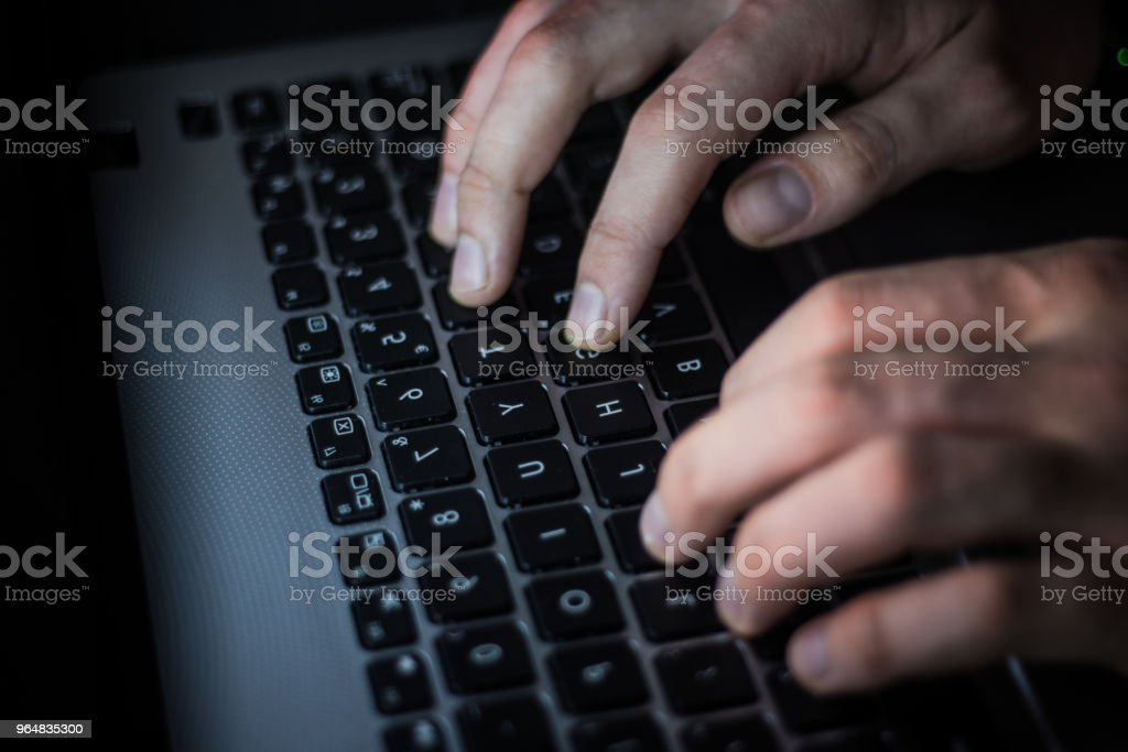 Russian hacker hacking the server in the dark web, Deep Web royalty-free stock photo