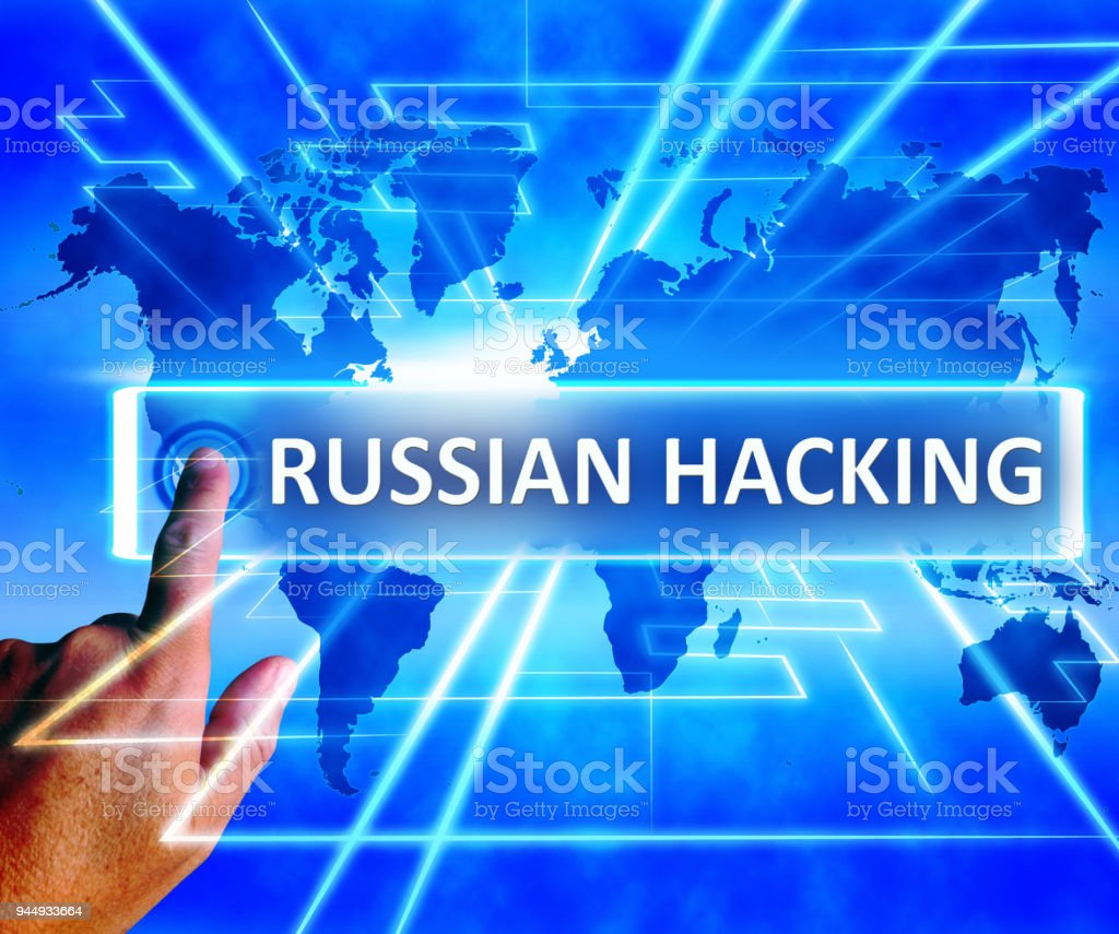 Russian Hacking World Map Shows Cybercrime 3d Illustration stock photo