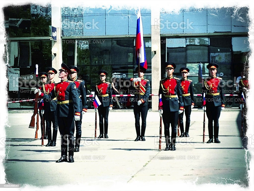 Russian Honor Guard Performing in Nova Gorica Slovenia royalty-free stock photo