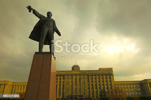 Russian House of Soviets, Lenin on Moscow Square. St. Petersburg.