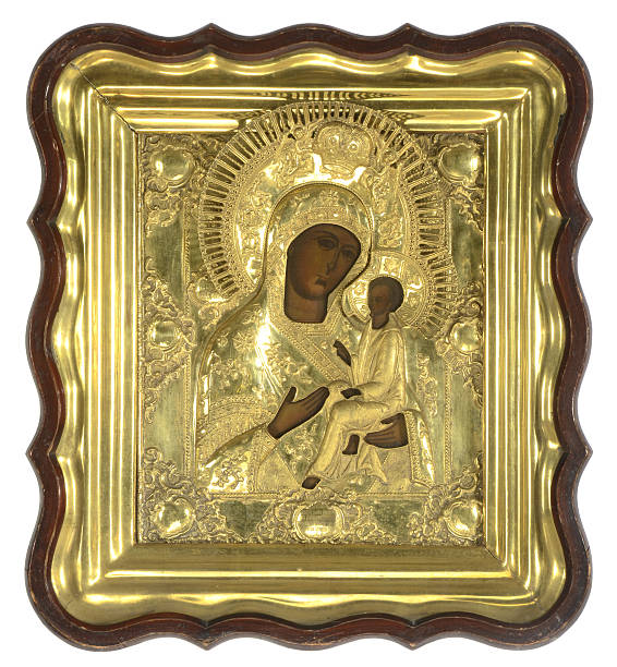 Russian Icon, 18th Century, Tikhvin Mother of God stock photo