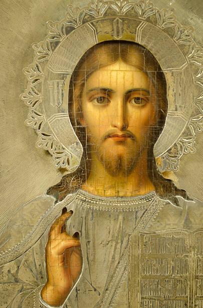 russische symbol, 19. jahrhundert, christ mit hand heben - russisch orthodoxe kirche stock-fotos und bilder