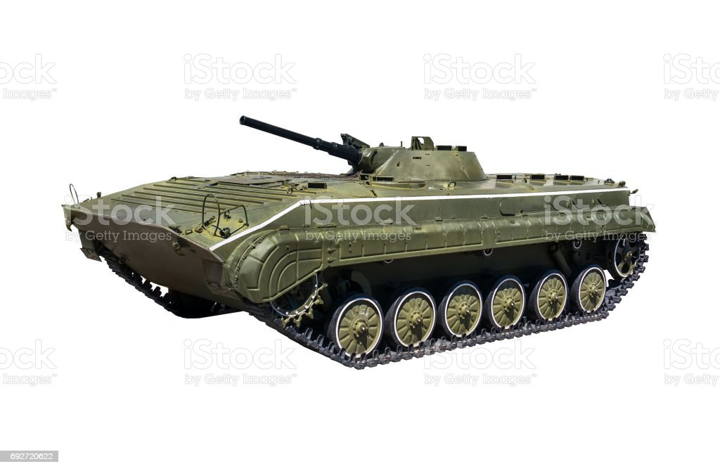 Russian infantry light tank BMP-2 with clipping path stock photo
