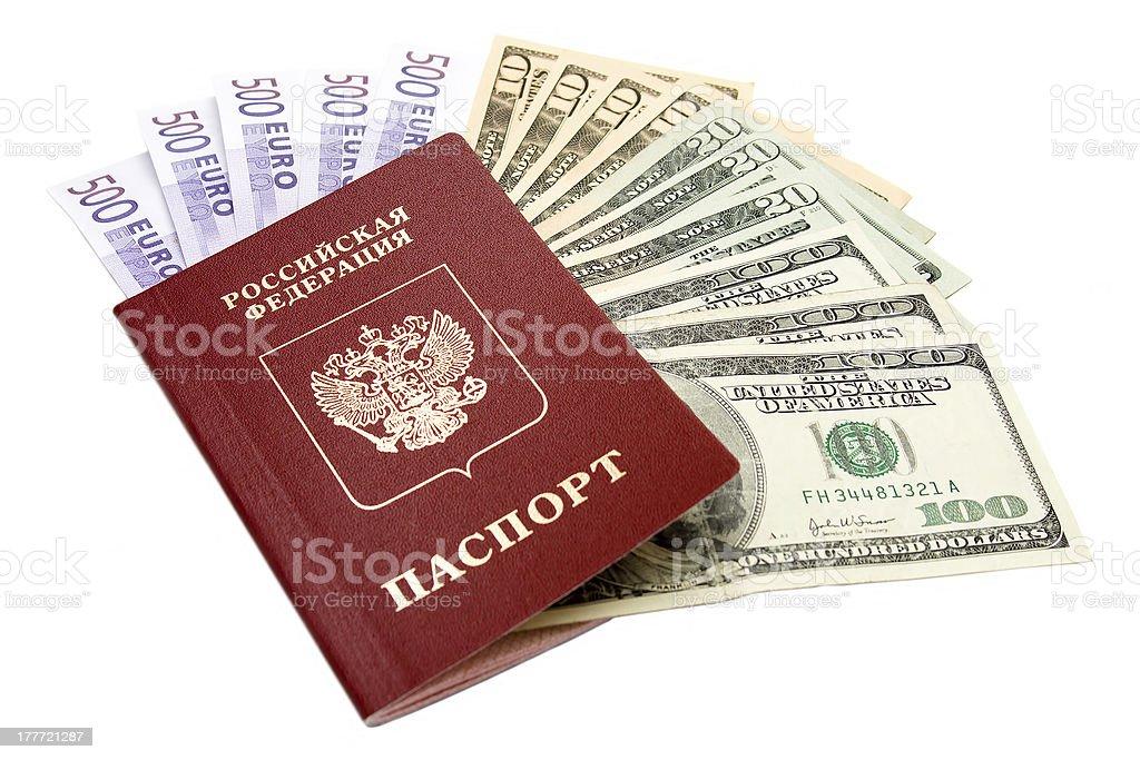 Russian international passport and money royalty-free stock photo