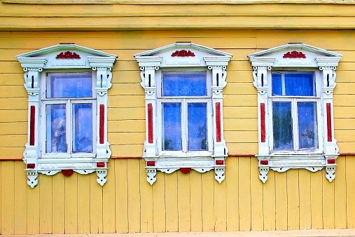 Russian Izba dacha windows detail