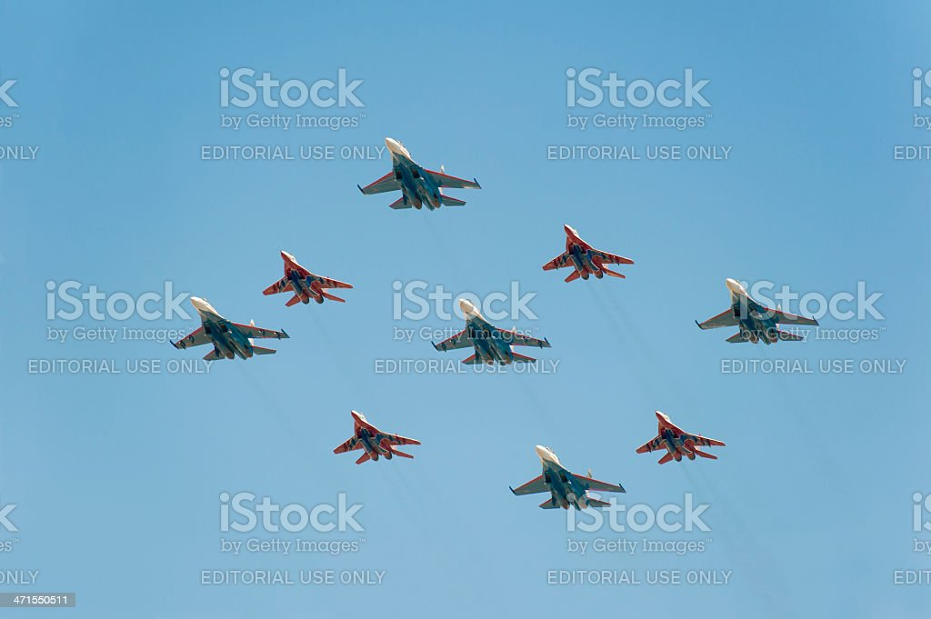 Russian Knights and Swifts celebrated Victory Day in Moscow 9may royalty-free stock photo