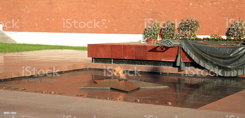 russian Kremlin eternal flame post royalty-free stock photo