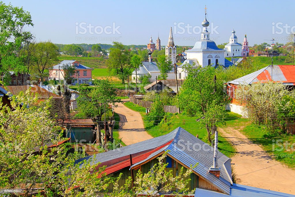 Russian landscape - Monastery and churches, Suzdal, Golden Ring stock photo