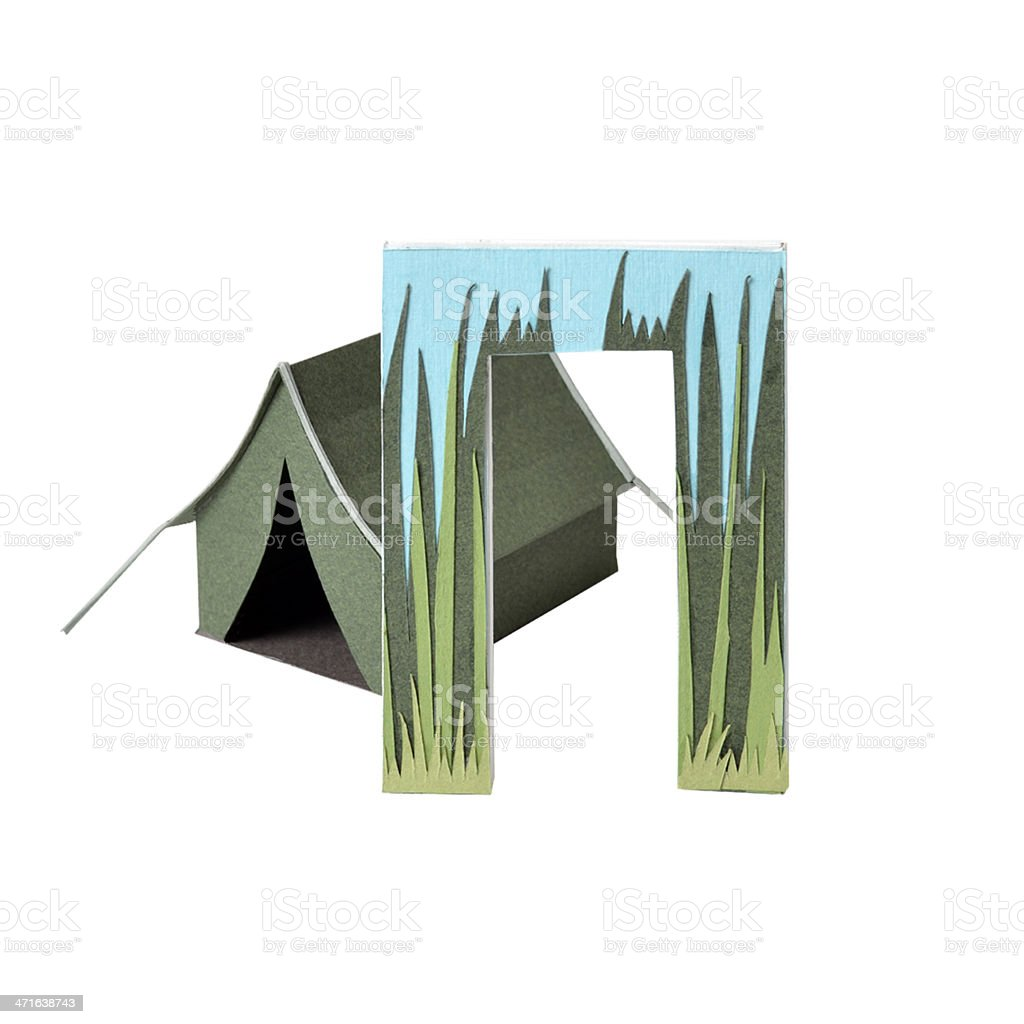 Russian letter P and paper tent royalty-free stock photo