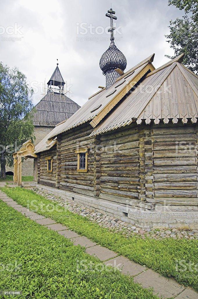 Russian loghouse church stock photo