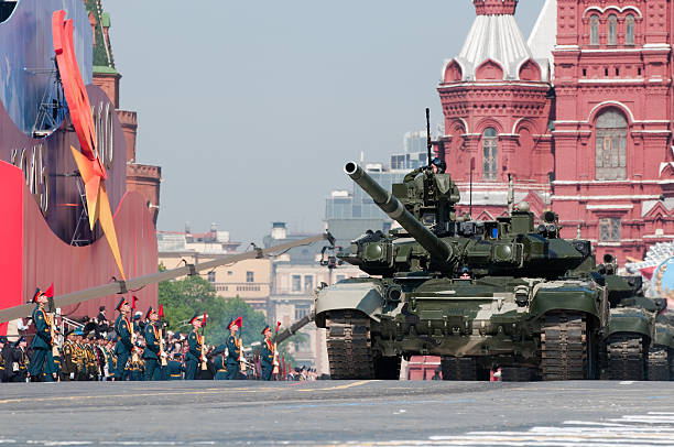 Russian main battle tank T-90 march along the Red Square Moscow, Russia - May 9, 2010: Russian main battle tank T-90 march along the Red Square on Moscow Victory Parade of 2010 military parade stock pictures, royalty-free photos & images