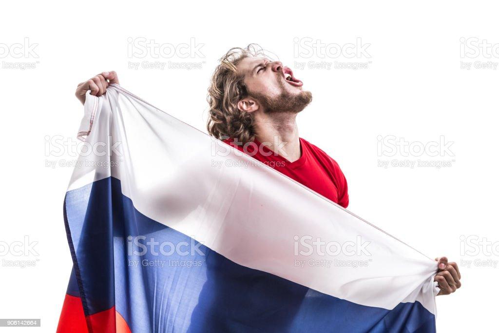 Russian male athlete / fan celebrating on white background stock photo