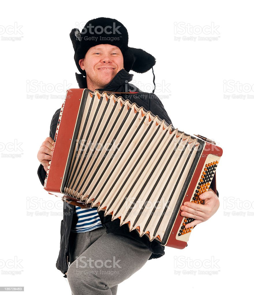 Russian man with accordion royalty-free stock photo
