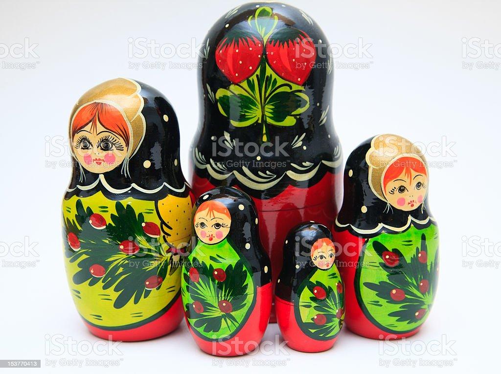 russian matryoshka doll on white background stock photo