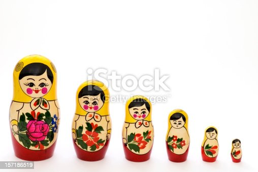 Set of russian dolls of decreasing sizes. Usually are placed one inside another.