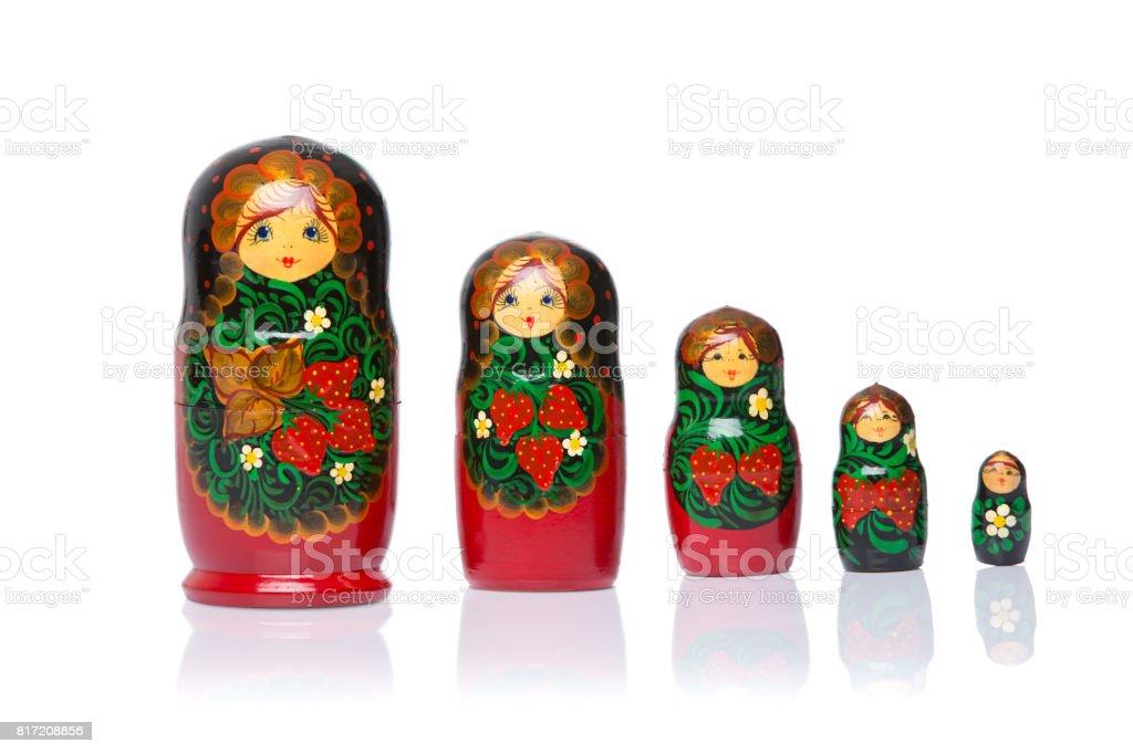 Russian matryoshka dolls on white background. stock photo
