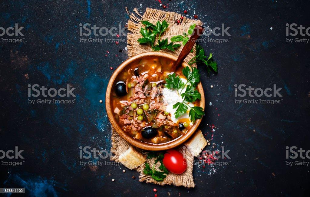 Russian Meat Solyanka Soup stock photo