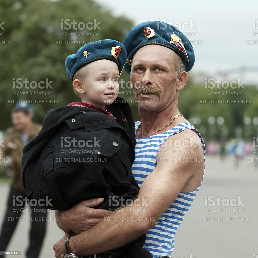 Russian military air force, veteran and his grandson. stock photo