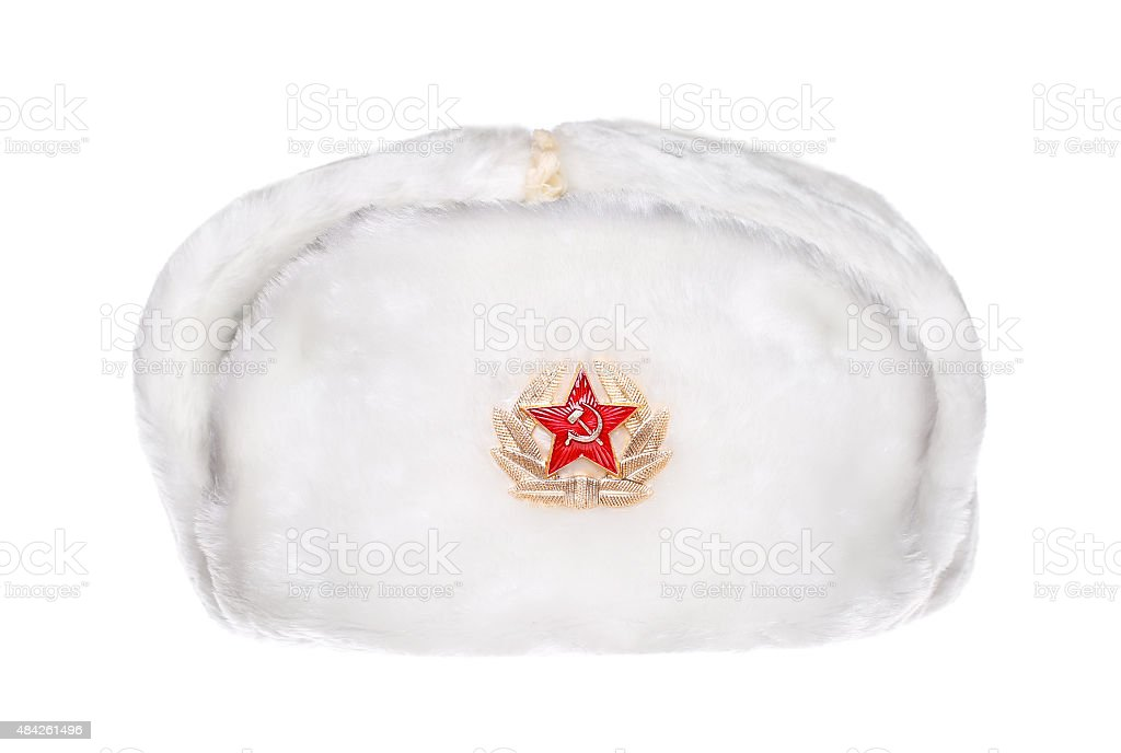 russian military army hat Ushanka isolated on white stock photo